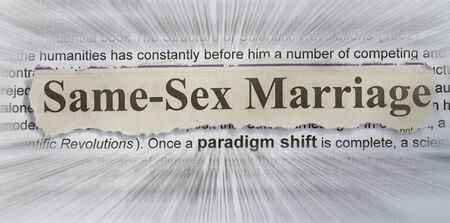sex discrimination: same sex marriage concept with text radial blur