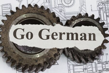 Made in Germany abstract with gears and technical drawing background