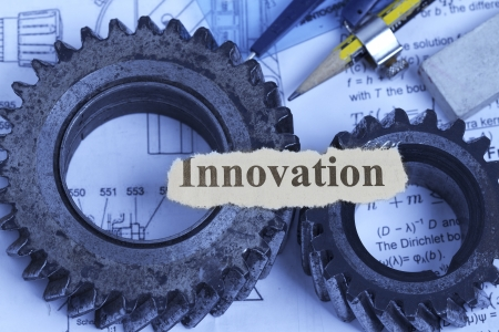 Innovaton abstract with gears and technical materials  Stock Photo - 14084375