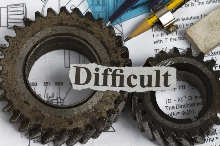 Difficult abstract with gears and drawing tools Stock Photo - 14221918