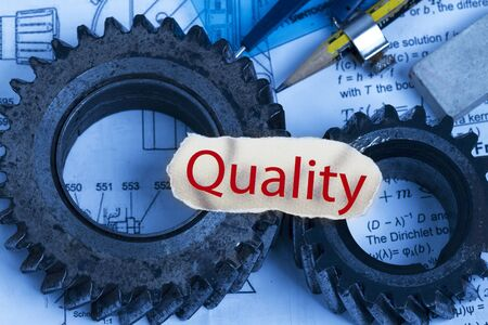 Quality cutout complete with gears and technical materials  photo