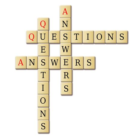Question and Answers abstract illustration tile wood crosswoed puzzle  illustration