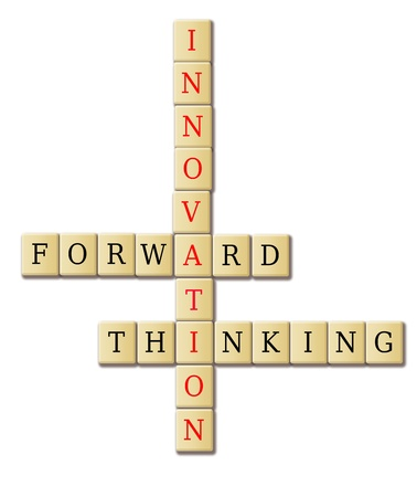 forward thinking innovation crossword puzzle illustration high resolution Stock Illustration - 14299933