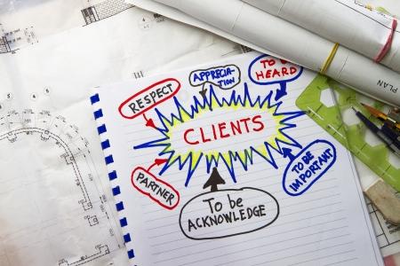 relation clients: Client de l'entrepreneur notes relation semminar abstraites avec le dessin d'ing�nierie et des outils Banque d'images