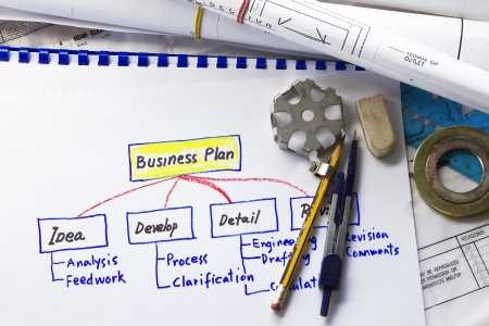 drafting tools: business plan  abstract with engineering tools and drawing  Stock Photo