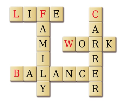 Life work and balance abstract in an illustration tile wood
