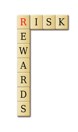 crisis management: Risk reward illustration of crossword puzzle abstract