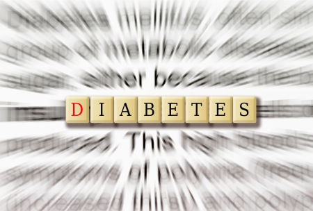 Diabetes in focus with the description in radial blur.