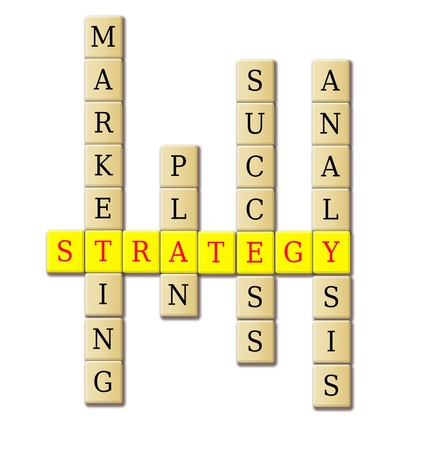 Strategy crossword puzzle illustration- plan and success