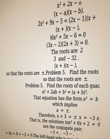 equation: Quadratic equation explained in brown paper background