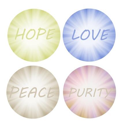 curare teneramente: Sensazioni colorate e positiva come la speranza, l'amore, la pace e la purezza