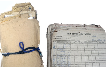 disorganized: Aged Old Papers bundled untidy and dirty