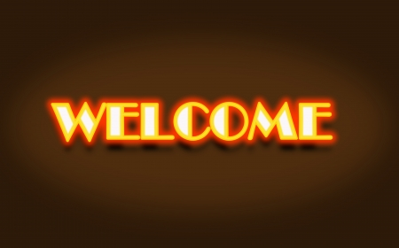 welcome neon sign in brown background abstract photo