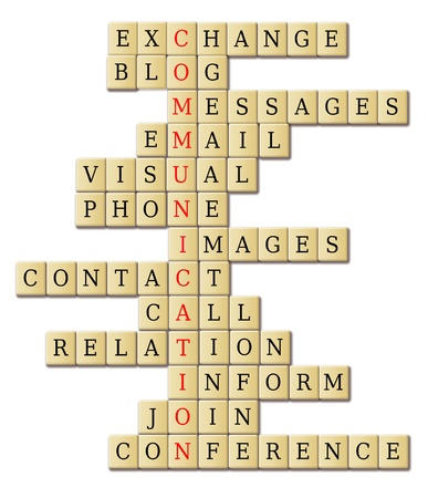 Communication theme with words associated in a crossword puzzle abstract  Note to editor this is my original idea  photo