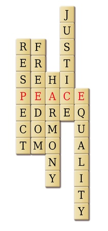 justified: Juggle of words with focus on the word peace
