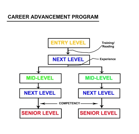 Career focus in an advancement program flowchart abstract  My original ideas Stock Photo - 15358873