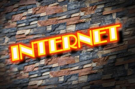 Internet access in neon lights signage with brick wall background Stock Photo - 15358883