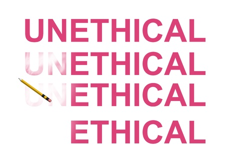 unethical: From unethical to ethical abstract in white background
