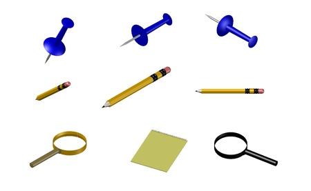 Stationaire materialen geïsoleerd in witte achtergrond, potlood, notebook en vergrootglas
