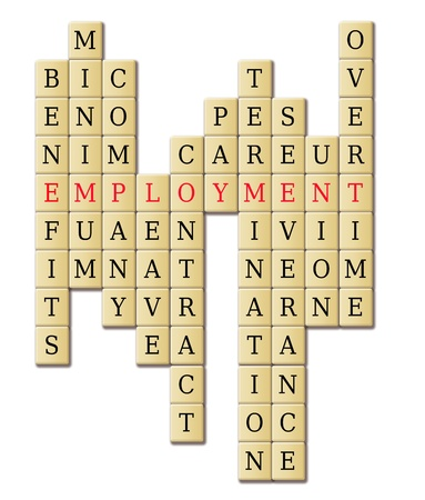 Employment in a crossword puzzle abstract isolated in white background  photo