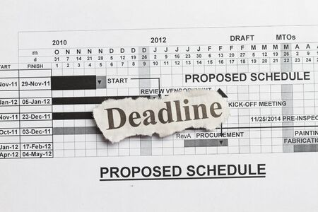 timescale: Deadlines and submission abstract with graph and fabrication schedule Stock Photo