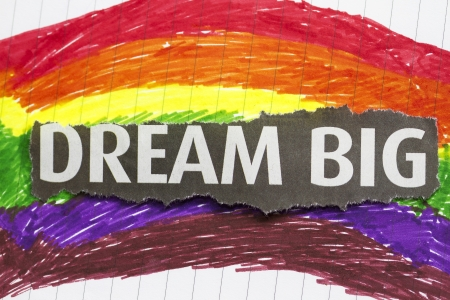 Dream Big abstract with newspaper cut out in a child artwork backgtound  photo