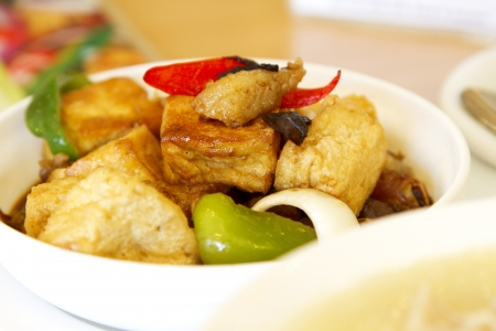 bean curd: Tofu vegan food japanese cuisine asian food Stock Photo