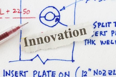 creativ: Innovation newspaper cut out in a concept idea drawn in a napkin.