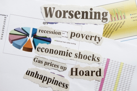 Financial crisis with cut out and graphical background  photo