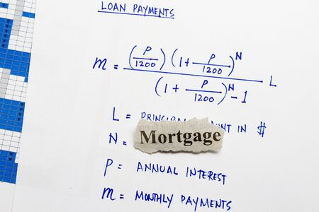 Mortgage cutout newspaper with equation for loan payments Stock Photo - 16461404