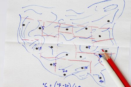 celcius: Sketch of US map with temperature abstract