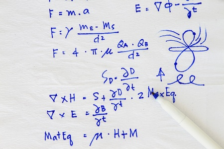 Equation and formula sketch in a white napkin photo