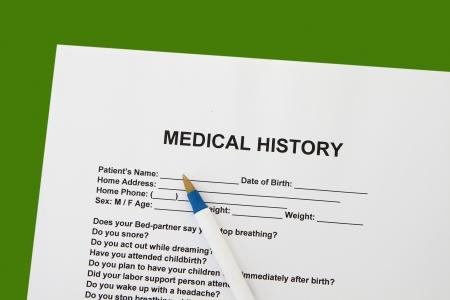 questionaire: Seguros formulario sobre el historial m�dico con el fondo verde