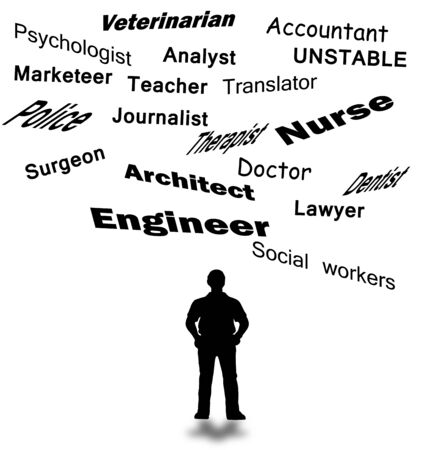 advocates: List of professions abstract with a man in looking  Stock Photo