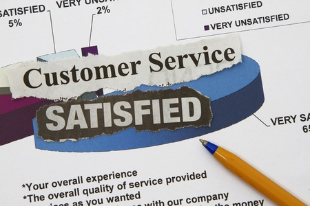 CUSTOMER SERVICE graph with very satisfactory rating Stock Photo - 17020540