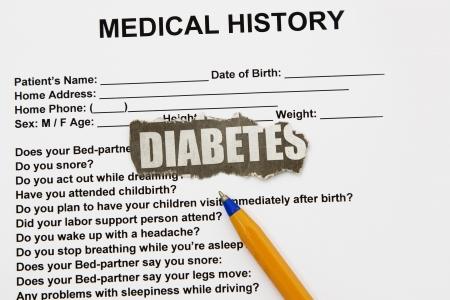 questionaire: Diabetes recorte de peri�dico con cuestionario como fondo Foto de archivo