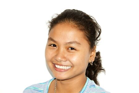 filipino ethnicity: Close-up shot of gorgeous young woman in a bun hairstyle