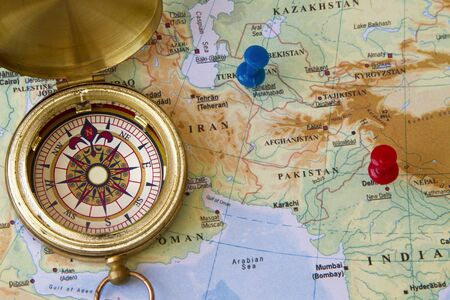compass in an old map of middle east Stock Photo - 18538183