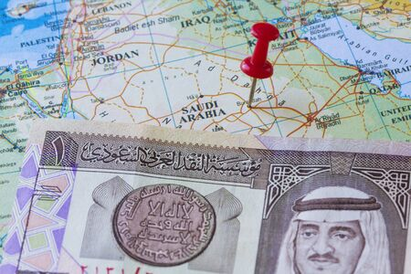 El rey Fahd, el 1 de billetes Riyal de Arabia Saudita y mapa photo