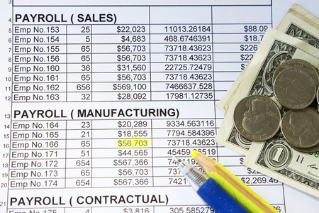payroll: Payroll spreadsheet with ballpen and yellow pencil