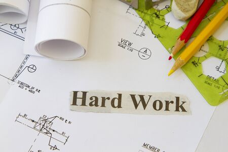Hard work abstract with engineering works and tools  photo