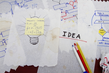 Many napkins with sketches- abstract for ideas and concept Stock Photo - 18538205