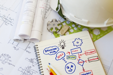 Brainstorming concept with engineering tools and hardhat  photo