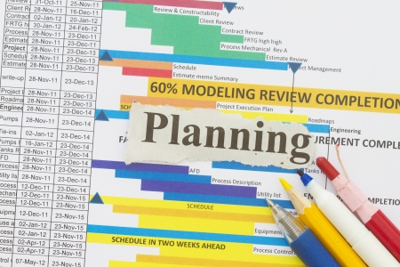 gantt: Planning with graph background pen and charts  Stock Photo