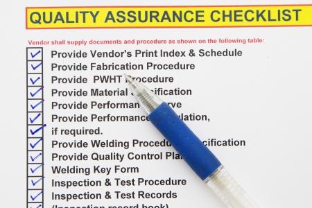 control de calidad: Aseguramiento de la calidad checklist-muchos usos en la industria de petróleo y gas