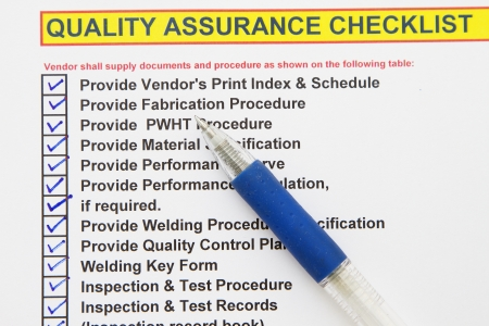 quality questions: Quality assurance checklist- many uses in the oil and gas industry