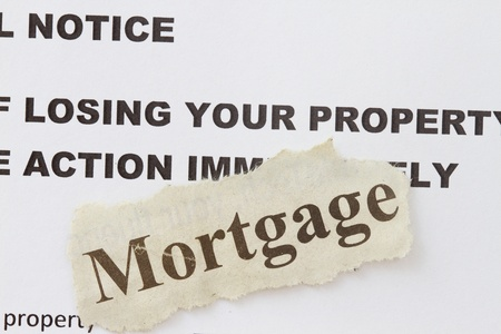 stoppage: Foreclosed notice on a loan mortgage of a property  Stock Photo