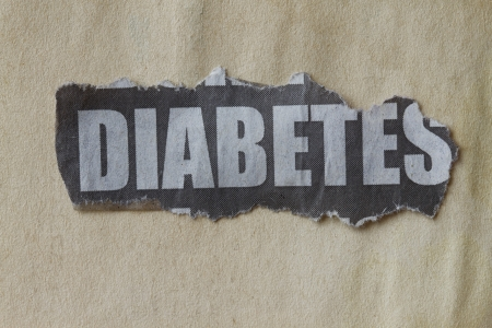 pronounce: newspaper cutout with word diabetes