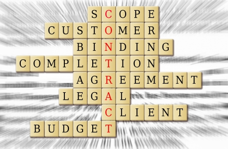 scope: Focus on contract and its associated word in a puzzle crossword. Stock Photo