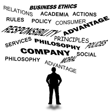 etica empresarial: �tica en los negocios y otros textos relacionados con la empresa aislados en blanco Foto de archivo